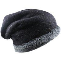 Wholesale Women s Winter Fall Thicken Fur Lined Polka Dot Knit Slouchy Baggy Skull Ski Hat Cap Ear Warmer