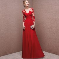 Wholesale Custom Made Red Long Sleeve Formal Evening Bridesmaid Dresses Chiffon Maxi V Neck Sheer Back Prom Ball Pageant Party Gowns
