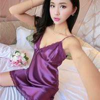 Wholesale Plus Size Ladies Sexy Silk Satin Night Dress Sleeveless Nighties V neck Nightgown Nightdress Lace Sleepwear Nightwear For Women