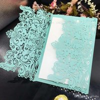 Wholesale Wholsale Multicolor Laser Cut Wedding Invitations Cards Personalized Hollow Wedding Party Printable Cards with Envelope Sealed Cards