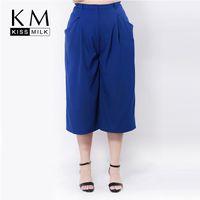 Wholesale Kissmilk Plus Size New Fashion Women Pocket Casual Loose Big Size Three Quarter Chiffon Wide Leg Pants XL XL XL XL