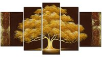 Wholesale Handpainted Money Tree Oil Paint panels GoldenTree Modern Canvas Art Wall Decor Wood Inside Frame Easy to Hang