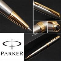 Wholesale 1Pcs Customized Parker Pen Parker Sonnet Papeleria Caneta Ballpoint Silver Pen Gold Clip Office Supplies Gift cm