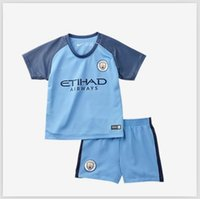 Wholesale new kids jerseys wite shorts Manchester City youth soccer jerseys DZEKO KUN AGUERO KOMPANY TOURE YAYA DE BRUYNE ET
