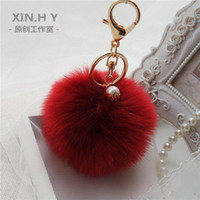 Wholesale Gold Rabbit Fur Ball Keychain fur pom pom Keychain fur keyring porte clef llaveros Pearl Key Chain For Bag Charm navidad regalos