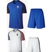 Wholesale 2016 Euro Soccer Jersey Home blue Away white Frances maillot de foot POGBA BENZEMA Shirt top quality jerseys