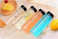 Wholesale 200PCS LJJM34 Portable ML Clear Glass Sweet Life Bottle Sport Fruit Juice Water Cup Lovers Bottle