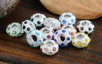 Wholesale Loose Rhinestone Metal Large Hole Spacer Beads Charms Silver DIY Necklace Bracelet Jewerly Findings mm mm