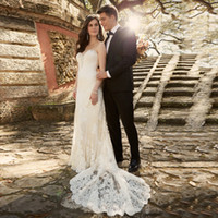 Wholesale Romantic Vestido De Noiva Ivory Mermaid Wedding Dresses Off Shoulder Beaded Sleeveless Bridal Gowns Backless Wedding Dress