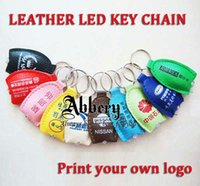 advertising - 1000pcs LED Keychains Lights Keyrings Free Design Your Logo PU leather keyring keychain For Advertising Promotion Gift DHL Shipping