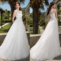 beads catalog - 2016 Jewel Neck Sleeveless Wedding Dresses Vintage Long Wedding Gowns Lace Applique Sequins Tulle A Line Catalog Beach Bridal Dresses