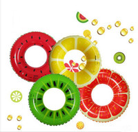 Wholesale 32 Inches Inflatable Cute Fruits Style Ring Swim Ring Grapefruit Watermelon Kiwi lemon PVC Swimming Float For Children