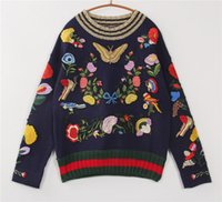 american birds - 2016 Autumn Flowers Bird Butterfly Embroidery High End Long Sleeves Knitted Women s Sweaters Celebrity Pullovers
