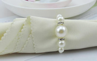 Wholesale 100Pcs per White Pearls Napkin Rings Hotel Wedding party Accessories Table Decorations supplies
