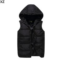 Wholesale Fall New Arrivals Solid Mens Vests Hooded Zipper Male Down Jacket Warm Cardigans Mens Jackets And Coats Fashion Outwear