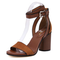 american suede shoes - New Fashion Ladies Shoes European and American Style Fashion Suede Thick with Word Buckle Women Sandals Rome High Heels Ladies Shoes