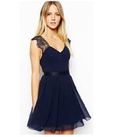 america sweethearts - Womans Slim dresses Europe and America Best Sellers blue sexy Dress backless Lace Chiffon Dress