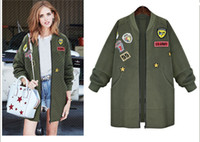 american military patches - Women The European and American wind of autumn outfit big size embroidery badges loose show thin Autumn Jacket Women Military Coat
