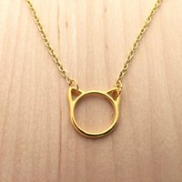 animal outlines - 10pcs Gold Silver Minimalist Cute Outline Cat Head Charm Necklaces Pendant Jewelry Animal Kitten Kitty Necklaces N103