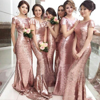 best convertible - Amazing Glittering Nude Pink Full Sequins Long Bridesmaids Dresses Best Selling Cap Sleeves Backless Sheath Evening Prom Gown Bling Cheap