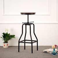 antique wood chairs - IKAYAA Industrial Style Height Adjustable Swivel Bar Stool Natural Pinewood Top Kitchen Dining Breakfast Chair US STOCK H16838