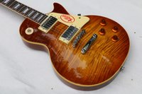 Wholesale One piece Neck LP R9 Tiger Flame les Electric guitar with Chrome hardware Maple body LP standard guitar