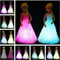 Wholesale 2016 hot present New Kids Toys Elsa Anna LED Colorful Lights gradient crystal Night Light Led Lamp with battery toy christmas holiday gift