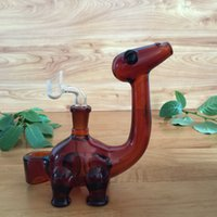 amber cut - USA amber dinosaur glass bongs glass water pipes oil rigs with slitted cuts perc and mm joint size