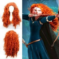 animated wigs - Animated Movie of Brave MERIDA cosplay wig Fashion Long Orange Curly Heat Resistant Cosplay Wig inch