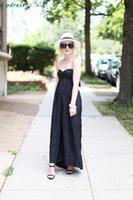 Wholesale 2016 Summer Beach Party Dresses Sweetheart Sleeveless Backless Long Black Holiday Beach Dresses Cheap Satin Sexy