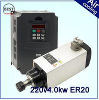 ac motor kw - 220v AC ER20 bearings Air cooled spindle motor for air cooling CNC router spindle motor KW square spindle motor