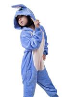 Wholesale Children S Pajamas Animal Costume Cosplay Onesie Kids HomeWear Kigurumi Pajamas Pink Blue Stitch Flannel Sleepwear Gift K92E