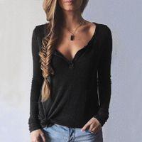 achat en gros de filles blouse col haut-High Quality Femmes Filles Lady Sweater Casual manches longues col V Blouse Shirt Tee Jumper Pull shirt Tops S / M / L / XL