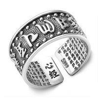 band lucky - High quality chinese beier Buddha ring thai sterling sliver open ring chinese lucky rings for men s fashion