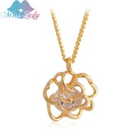 Cheap Vintage Rose Flower Design CZ Diamond Necklaces &Pendants 18K Silver  Gold Plated Fashion Brand Jewelry For Women Chain MLMG073
