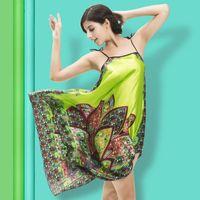 ladies silk pajamas - New Fashion Bohemia Women Summer Pajamas Free size Ladies Shoulder straps Nightgowns Silk Imitation Sleepshirts Lounge Sleepwear