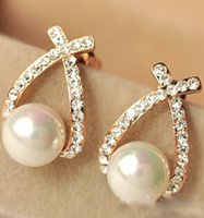 Wholesale 2016 Crystal Rhinestone simulated pearl Bowknot Design Girls Ear Stud Earring Earing Fashion Jewelry Women earrings