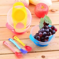 Wholesale 2016 Popular Baby Infants feeding Bowl With Sucker Temperature Sensing Spoon Baby Learnning Dishes Assist food Spoon Bowl Set