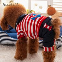 Wholesale Cute Fashion Four foot Dog Pet Clothes Navy Handsome Rompers Jumpsuit Anchor Pattern S Size