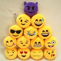 Wholesale 500pcs Cute Creative Emoji Soft Stuffed Plush Toy Round Emotion Smiley Doll Gift Home Decor Key Chain Bag Cell Phone Straps ZA0867