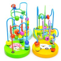Wholesale Colorful Wood Mini Around Beads Early Learning Toy Children Kids Baby Educational Mathematics Toy with Gift Boxes Random Color
