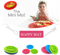 Wholesale Happy Mat baby silicon bowl silicone placemat plate Happy Baby Food Divided Placemat Bowl design KKA856