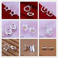 Wholesale 10 pairs diffrent style women s silver earrings GTE5 high grade fashion sterling silver stud earrings