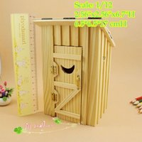 Wholesale 1 Dollhouse Miniatures Wood Outhouse Double Unit Doll house Furniture