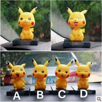 automobile games - Poke Toys Children Kids inch Cosplay Cartoon Pikachu Action Movie Games Figures PVC Toys Shaking Head Automobile Dolls CCA5019