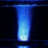 aquarium air stone led - Aquarium Fish Tank Air Curtain Bubble Stone Disk with Multi color LED Light Energy saving Night Lights