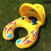 Wholesale Novely month inflatable Baby swimming Ring Float Seat Mother and Child Swim Circle Pool Seat Lifebuoy Safety Double Protection