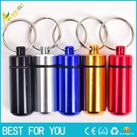 aluminum pill container - key holder Aluminum Waterproof Pill Shaped Box Bottle Holder Container Keychain medicine Keyring keychain box