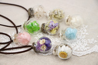 asian bottle - Maxi Necklace Collares Trendy Round New Handmade Glass Bottle Necklace Boutique Real Dried Flower Pendant Jewelry For Womens