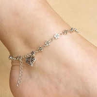 amber cross pendant - 1Pcs Adjustable Sexy Simple Flower Beads Love Heart Pendant Silver Ankle Chain Barefoot Anklets Beach Foot Jewelry Wh